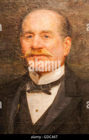 England,London,Forest Hill,Horniman Museum,Portrait of Frederick John Horniman by Trevor Haddon dated 1906 - Stock Photo