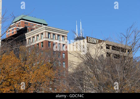 Buildings on South Michigan Ave across from Grant Park in Chicago, IL, USA - Stock Photo