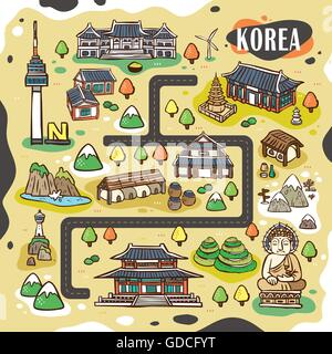 lovely Korea travel map design with hand drawn attractions - Stock Photo
