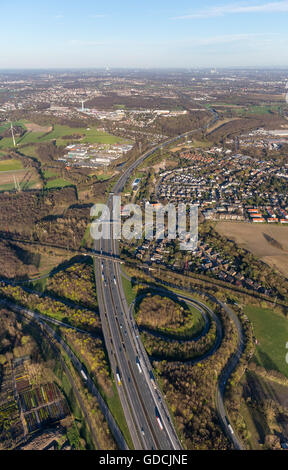 Aerial view, motorway junction A2 and A31, Fries spit Bottrop Nord, Bottrop, Ruhr area, North Rhine-westphalia, - Stock Photo
