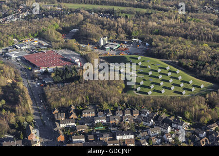 Aerial view, solar panels on the former dump Donnersberg, Bottrop, Ruhr area, North Rhine-westphalia, Germany, Europe, - Stock Photo