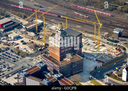 Aerial view, construction site at the Dortmunder U, Dortmund, Ruhr area, North Rhine-westphalia, Germany, Europe, - Stock Photo