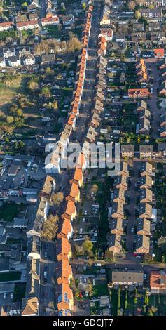 Aerial view, detached mining houses, Landstrasse, Gladbeck, Ruhr area, North Rhine-westphalia, Germany, Europe, - Stock Photo