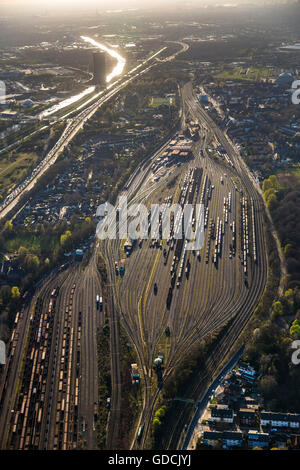 Aerial view, freight station Oberhausen Vonderort, and east goods station Bottrop, Oberhausen, Ruhr area, North - Stock Photo