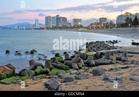 NHA TRANG, VIETNAM - MARCH 11: View of Nha Trang downtown, Vietnam on March 11, 2015.  is a coastal city and capital - Stock Photo