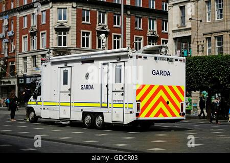 Garda Police Caravan Mobile Unit Ireland Dublin - Stock Photo