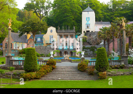 Portmeirion Village Piazza with (L-R) Salutation, Gloriette and Telford's Tower buildings, Portmeirion, Gwynedd, - Stock Photo