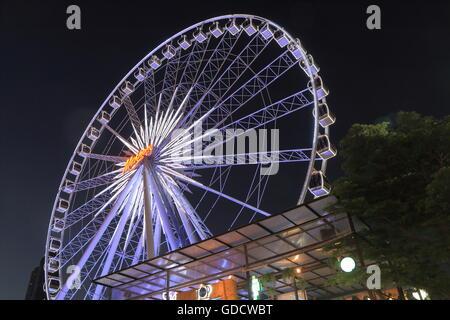 Big ferries wheel at Asiatique shopping complex in Bangkok Thailand. - Stock Photo