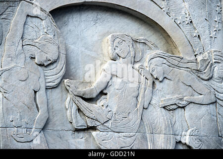 Italy, Lombardy, Milan, Monumentale Cemetery, detail of Arturo Toscanini tomb - Stock Photo