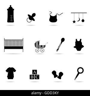 baby icon vector silhouette on white background - Stock Photo
