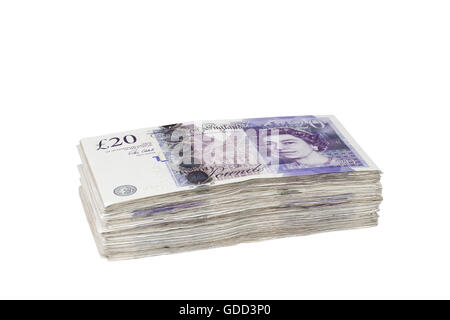 Pile of british 20 pound banknotes - Stock Photo