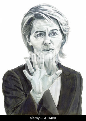 Leyen, Ursula von der Leyen, * 8.10.1958, German politician (CDU), Federal Defence Minister since 2013, portrait, - Stock Photo