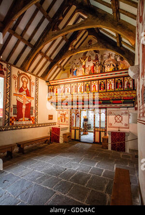 St Teilo's church at St Fagan's National History Museum in Cardiff South Wales UK painted as it may have been as an original medieval Catholic church
