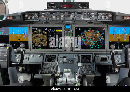 The cockpit of the Boeing 737 Max 8 aircraft. - Stock Photo