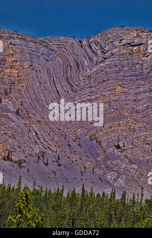 anticline geologic formation along alaska highway,yukon,canada - Stock Photo