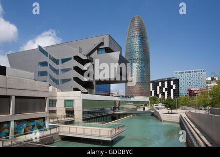 Spain,Catalonia,Barcelona City,Glorias Square,Agbar Tower. - Stock Photo
