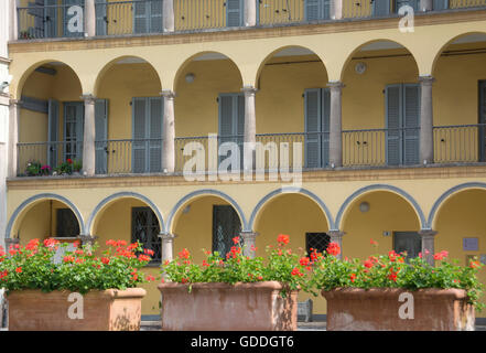 Italy,Europe,Northern Italy,Piemont,Domodossola,Old Town,palace - Stock Photo