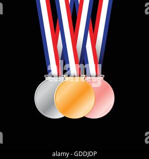 Three medals on black background for sport games vector illustration. - Stock Photo