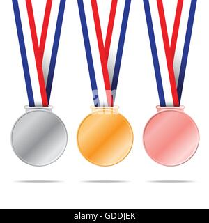 Three medals on white background for sport games vector illustration. - Stock Photo