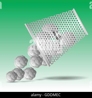 Bin and crumpled papers on green background vector illustration. - Stock Photo