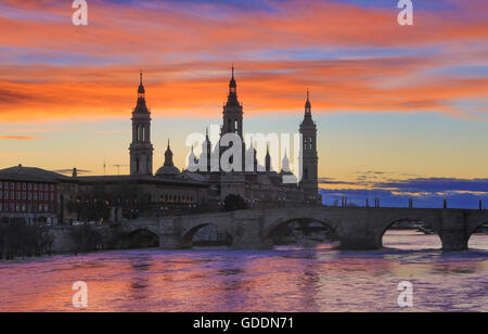 Spain,Aragon Region,Zaragoza,Saragossa,City,El Pilar Basilica - Stock Photo