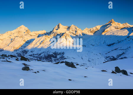 Dent Blanche - 4357 ms,Ober Gabelhorn - 4063 ms,Zinalrothorn - 4221 ms,Valais,Switzerland - Stock Photo
