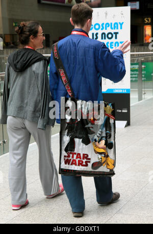 London, UK. 15th July, 2016. Star Wars celebrations Europe,Hundred of fans flocked to the excel center for the first - Stock Photo