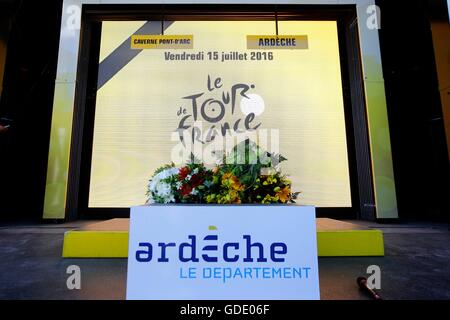 France. 15th July, 2016.  Podium ceremony during stage 13 (time trial) of the 2016 Tour de France a 37,5 km individual - Stock Photo