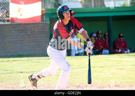 Gijon, Spain. 15th July, 2016. Votjtech Mensik (Czech Republic) hits the ball during the baseball match of round of U18 European Championship 2016, between Czech Republic and Spain, played at Laboral Stadium in Gijon (Spain), on May 15, 2016. Credit: David Gato/Alamy Live News