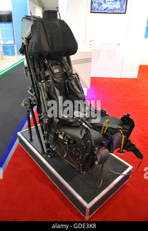 Farnborough, UK. 15th July, 2016. A Martin Baker Mk11 Ejection Seat on display in the trade pavilions at the Farnborough - Stock Photo
