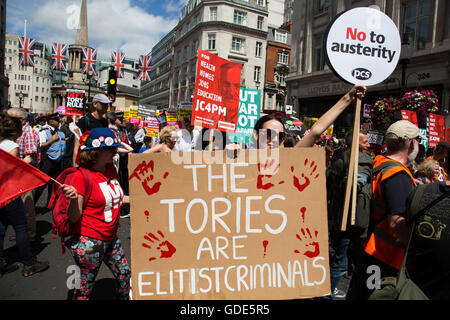 London, UK. 16th July, 2016. Peoples Assembly demonstration: No More Austerity - No To Racism - Tories Must Go, - Stock Photo
