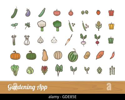 Gardening and farming app vegetables outlined icons set - Stock Photo