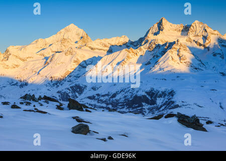 Dent Blanche - 4357 ms,Ober Gabelhorn - 4063 ms,Valais,Switzerland - Stock Photo