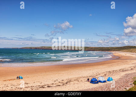 The beach at Freshwater West, Pembrokeshire Coast National Park, Wales, UK - Stock Photo