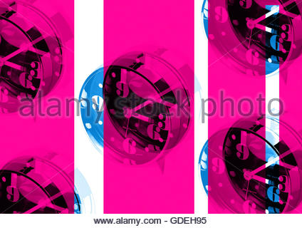 Vintage retro sixties boogaloo clock alarm repeat London look - Stock Photo