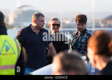 CARDIFF, UK. 13th July 2016. Martin Freeman is spotted leaving the Sherlock set on the Cardiff Bay barrage. - Stock Photo