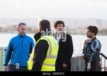 CARDIFF, UK. 13th July 2016. Benedict Cumberbatch is spotted leaving the Sherlock set on the Cardiff Bay barrage. - Stock Photo