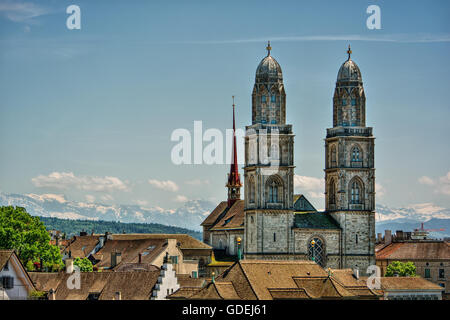 Great Minster church towers and city skyline, Zurich, Switzerland - Stock Photo
