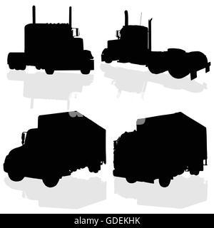 truck black silhouette art of vector illustration on white - Stock Photo