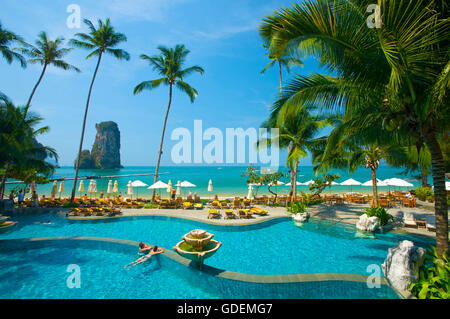 Swimming Pool of the Centara Resort, Krabi, Thailand - Stock Photo