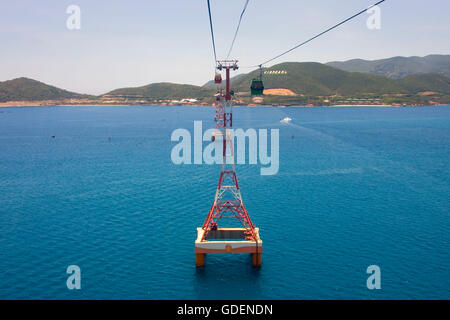 Cable car to Vinpearl island, Nha Trang, Vietnam - Stock Photo