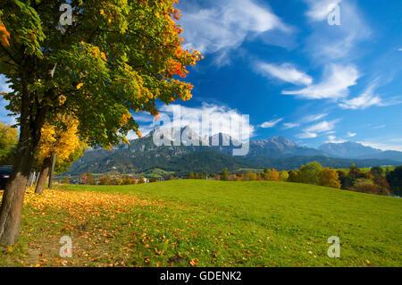 Blick von Saalfelden auf das Steinerne Meer, Pinzgau im Salzburger Land, Austria - Stock Photo