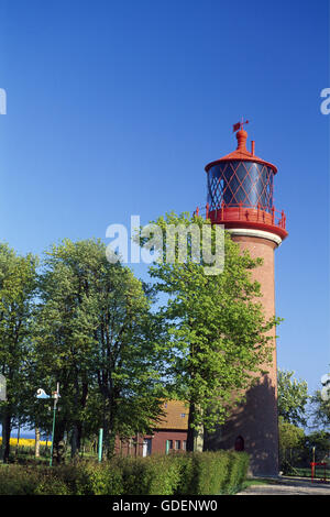Lighthouse called Staberhuk on Fehmarn Island, Schleswig-Holstein, Germany - Stock Photo