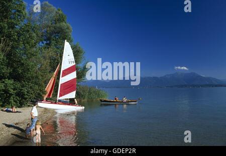 Lake Frauenchiemsee, Lake Chiemsee, Chiemgau, Bavaria, Germany - Stock Photo