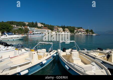 Port of Kassiopi, Corfu, Ionian Islands, Greece - Stock Photo