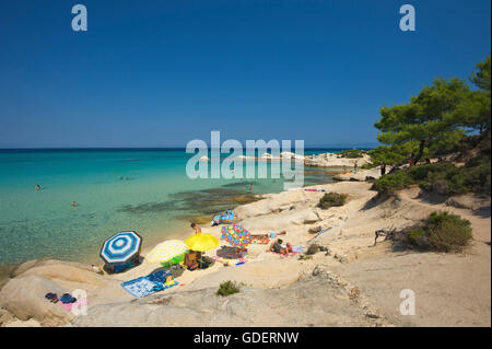 Portokali Beach, Kavourotypes, Sithonia, Chalkidiki, Halkidiki, Greece - Stock Photo