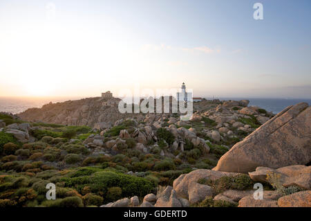 Lighthouse, Capo Testa, Santa Teresa di Gallura, Sardinia, Italy - Stock Photo