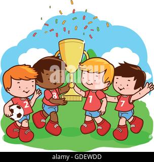 Three little soccer player winner boys cheering and holding the cup at the football field. - Stock Photo