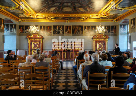 Knight's Hall, Castle Iburg, Bad Iburg, Lower Saxony, Germany - Stock Photo