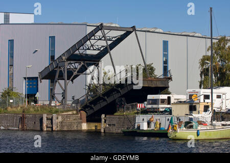 Bascule bridge to Harburg timber port, Hamburg, Germany, Europe - Stock Photo